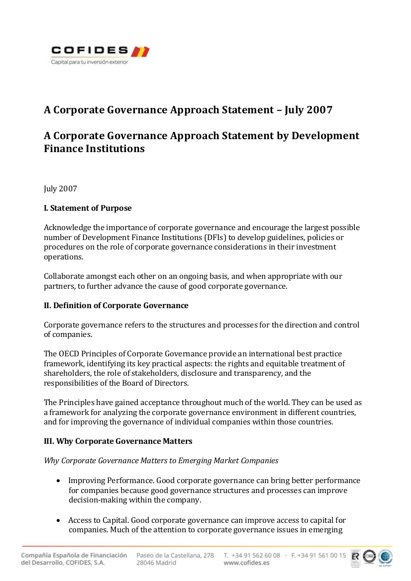 Front cover of A Corporate Governance Approach Statement