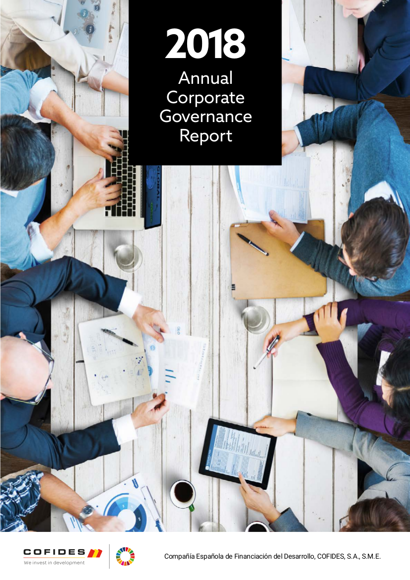 Front cover of the 2018 COFIDES Annual Corporate Governance Report