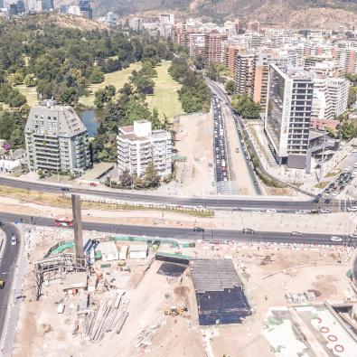 Image of the northern section of the Vespucio Oriente urban motorway in Santiago de Chile