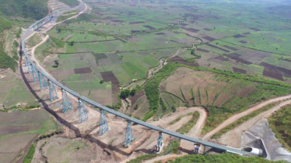Image of the railway project between Awash-Kombolcha-Hara Gebaya carried out by TEC CUATRO in Ethiopia