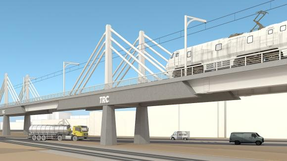 3D image of the 70 meters extradosed viaduct of the TEC CUATRO project in Tanzania
